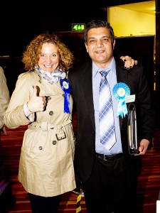 Sajjad Hussain and councillor Melanie Whitehand