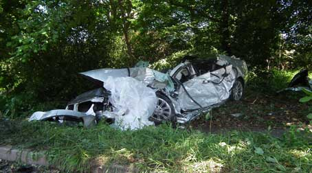 WRECKAGE - the driver of the BMW was taken to St George's hospital