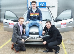 TOP GEAR – Elliot Alexander, Fin O'Sullivan and Rob Prince with their modest Kia Rio