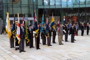 TOUR DE FORCES – after the parade starting from Commercial Way, the standard bearers representing a variety of organisations line up in Woking town square facing the war memorial