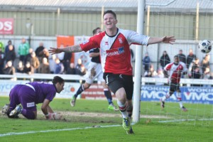 BILLY THE KID - Knott celebrates his second goal of the afternoon again Luton. Picture by: David Holmes