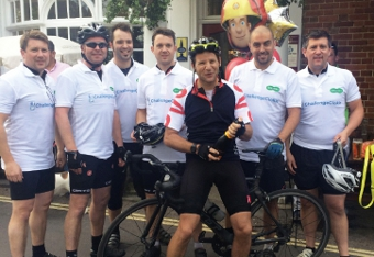 DREAM TEAM – Adam Cloke was joined by Specsavers staff as they bravely pedalled their way to £6,000
