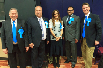 TRUE BLUES – Cllrs Kingsbury, Kemp, Azad and Shah with Mr Lord MP