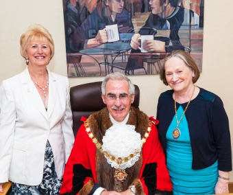 ALL CHANGE – Cllr Anne Roberts with Mayor and Mayoress Branagan
