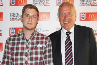MY IDOL - Surrey FA's Coach of the Year, Rob Davies, alongside his icon, commentator Martin Tyler (right)