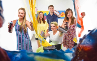 CREATIVE TYPE - Alix de Courcy (front middle) has won a place on Southamnpton Solent's Graduate Artists in Residence Award