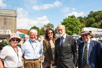 ROYAL VISIT – Prince Michael of Kent with Rae and John Kennedy, Tracy Curtis-Taylor, and Chairman of Brooklands Museum Trustees, Lord David Trefgarne
