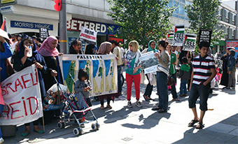 MAKING THEIR POINT - the Woking Action for Gaza protest , organised the West Surrey Palestine Solidarity Campaign, attracted a great deal of attention