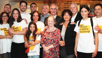 THE BEST IN THE BUSINESS – Veronica Lanzetta (far right) with mum Antonietta, dad Nino and uncle Salvatori, plus special guests Mayor Tony Branagan and Mayoress Mary and former pro golfer commentator Peter Alliss