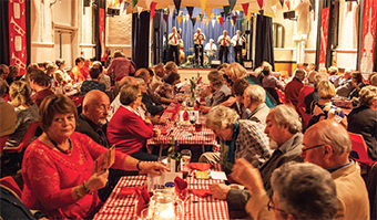 PACKED OUT – the village hall was at capacity as the Sussex Jazz Kings showed their wares on the stage