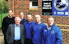 WELCOMING COMMITTEE – Surrey FA Development Manager Paul Jones, Greg Dyke, Club Treasurer Kevin Barkham, club skipper Edwin Doyle and manager Des Clark, and proud Knaphill Chairman Dean Roberts