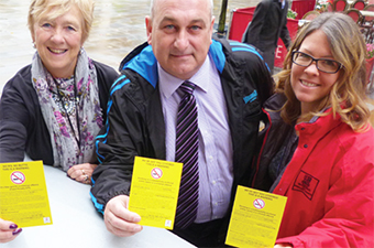 STUBBING OUT LITTERBUGS – Councillor Beryl Hunwicks and Councillor Colin Kemp with Environmental Manager Emma Bourne
