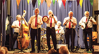 CENTRE STAGE – the Sussex Jazz Kings enterained the crawds at Chobham Village Hall on Saturday evening
