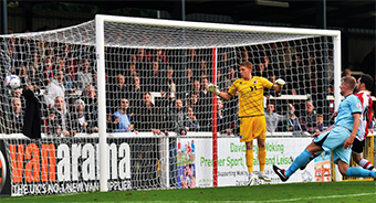 NET GAIN – Giuseppe Sole rose highest to head home against Boreham Wood on Saturday, helping to set up a 2-1 FA Cup Fourth Qualifying Round victory (Pictures by: David Holmes)