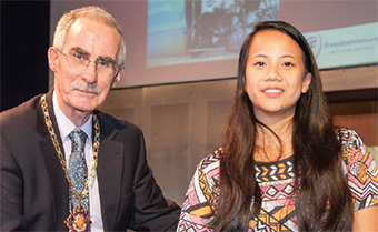 ACCOLADE – for Joy Haizelden, here with the Mayor, who won the Disabled Sport Award at this year's glittering ceremony