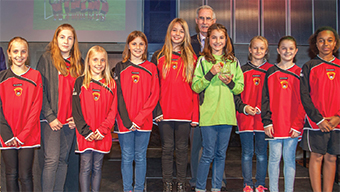 YOUNG LADIES IN RED – the Young Sports Team of the Year was the Meadow Sports Girls U11 side