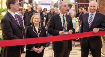 CUT ABOVE – Mayor Tony Branagan gives a short speech prior to cutting the ribbon: with him are Mayoress, Mary Branagan, Jonathan Lord MP and Cllr Gary Elson