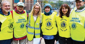 ALL FOR ONE – Event Coordinator Tara Stevenson with Lions Bob Hills, Roy and Maggs Supple, Irena and Lou Patoto