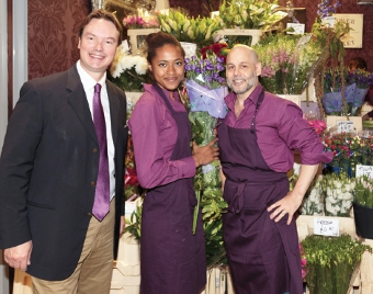 FLOWER POWER - Jonathan Lord MP with Tia Harding and Simon Downer of the Chelsea Flower Shop