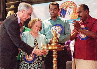 LET THERE BE LIGHT – the traditional lamp is lit by the Mayor and Mayoress with National UUKMA Secretary Binsu John and President Mr Varghese John