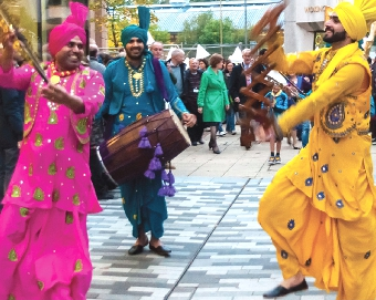TRIPPING THE LIGHT FANTASTIC – the lively dancers Vasta Punjab lead the parade