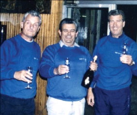 MONSTER TREK - the trio celebrating at the end of their road-trip achievement, in 1989