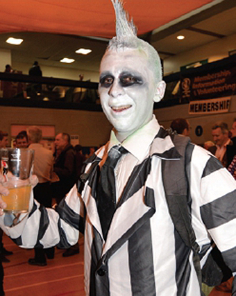 HERE HERE! – monochrome man Andrew Ferguson enjoys a pint