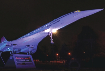 AN ICON - the Concorde supersonic aeroplane lit in purple at Brooklands (Picture by: Bob Holmes)