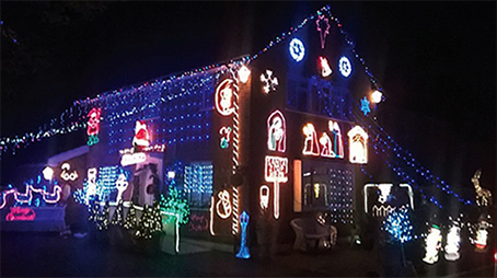 BAH HUMBUG – testing the festive lights at Helen's Willow Way home on November 18