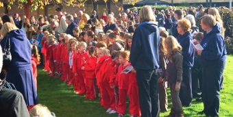 YOUTH HONOURS DEPARTED – Rainbows (red uniforms), with pack leaders, Guides and Scouts