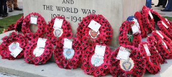 FOR THOSE WHO DIED AT WAR – wreaths at the foot of the memorial