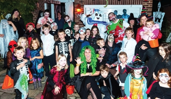 A SIMPLY FRIGHTFUL TIME – Pyrford villagers gathered to have a howl on Halloween at Debbie Plowman's haunted house