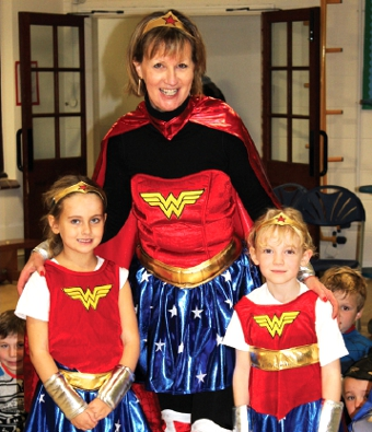 CAPED CRUSADERS – Linda Renfrew, her staff and the boys and girls of Hoe Bridge did their bit alongside the likes of Terry Wogan and S Club 7