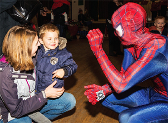 WEB PALS – Freddie Gosling with mum Sarah... and Spider-man