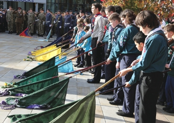 FLAG DAY – the younger generations took a central role in Sunday's moving Remembrance Service