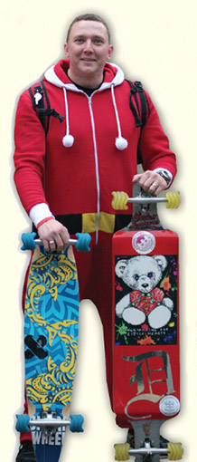 Dean Lake's Santa Cruise is an annual Yuletide skate which sees riders push their way through London in aid of his Longboards For Little Hearts charity.