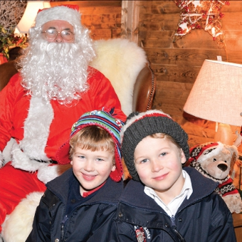 BROTHERS IN ARMS - Harry Eld, four, and Nicholas, five, visit Father Christmas in his cosy grotto