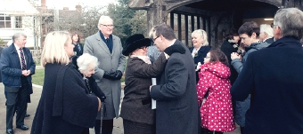 FITTING SEND-OFF – Huw James (son) greets George and Annabel Hayter