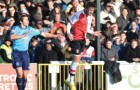 HOOKED - Cards' Joey Jones won this duel but was hauled off by disgruntled boss Garry Hill after just 25 minutes at Kingfield