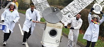 ROUND AND ROUND THEY GO – washing machine turned satellite
