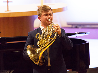 HORNBLOWER – Ben Goldsheider came second on the French Horn