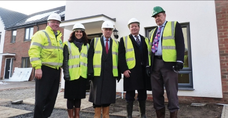SEAL OF APPROVAL – Kier Project Manager Chris Ott; Chief Executive Officer of Thames Valley Housing, Geeta Nanda; HCA Chairman Robert Napier; council Chief Executive Ray Morgan; and Councillor David Bittleston at the Kingsmoor Park development site