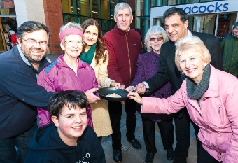 RECIPE FOR SUCCESS – Cllrs Denzil Coulson, Hilary Addison, Ayesha Azad, Graham Cundy, Saj Hussain and Anne Roberts, plus Joshua Coulson and Pauline Eastwood