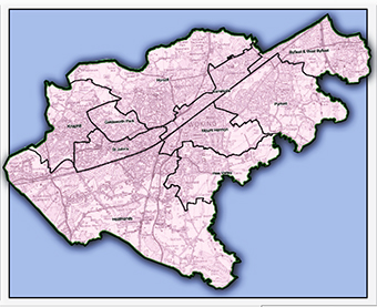 BOUNDARIES – map illustrating Woking's wards for 2016