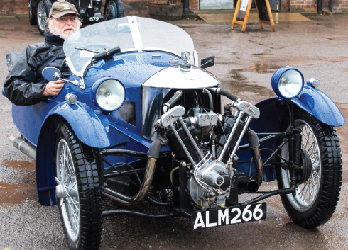 BLUE IS HIS COLOUR – a keen motorist is all geared up and ready to roll