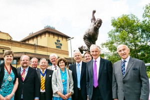 A WICKET EVENT – Sir John Major (blue tie) joined Woking's top brass at the unveiling of the Bedser Twins statues on Monday (Pictures by: Bob Holmes)