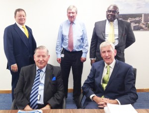CHIEFS MEET – Woking Borough Council Chief Executive Ray Morgan, Deputy Chief Executive Douglas Spinks, Planning Policy Manager Ernest Amoako, Leader John Kingsbury  and the Portfolio Holder for Planning Policy Graham Cundy