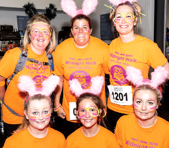 THE 'LET'S DO THIS' TEAM – Trudi Fletcher, Lisa and Ellie Kiy, Katie and Emily Tapp and Anna Caffarey walk in memory of dad Michael Fletcher