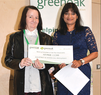 TOP SLOT – ultimate Volunteer of the Year Anne O'Neill (left) of Arthritis Care, with Tania Correia from the Greenoak committee