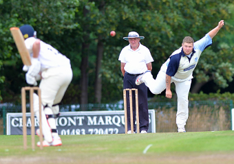 TRYING TO NICK A WICKET – Chobham's Nick Jackman's treble proved to be in vain  (Pictures by David Holmes)